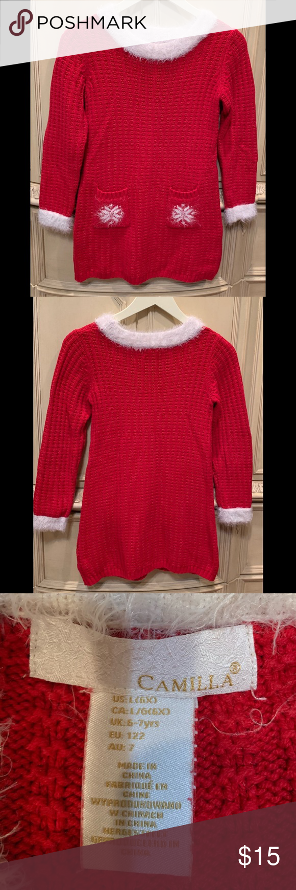 Girls Camilla Sweater Dress Red With White Trim 6x Red Sweater Dress With White Trim 2 Front Pockets Snowflake Red Sweater Dress Camilla Dress Clothes Design [ 1740 x 580 Pixel ]