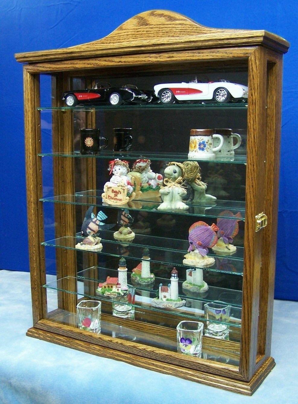 Walnut Wall Hanging Curio Cabinet Wood Glass Display