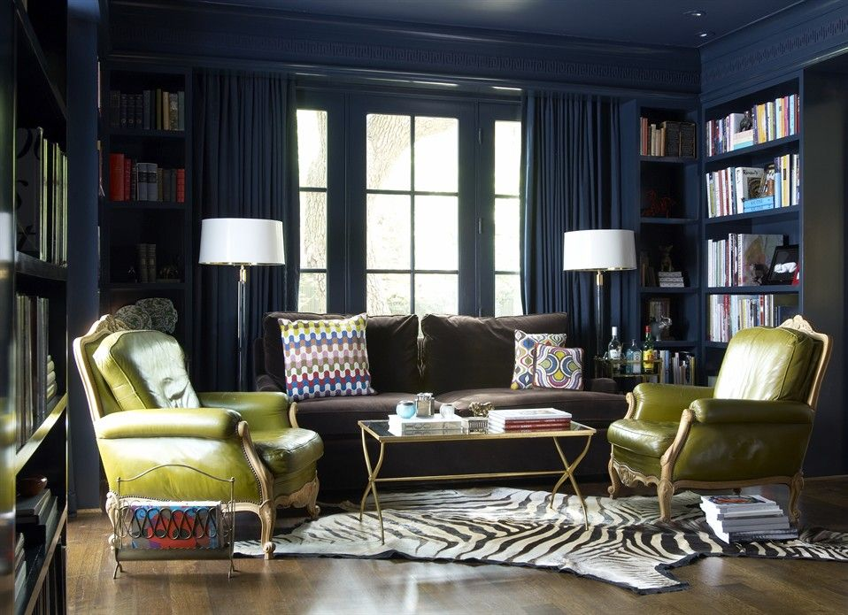 Another Inspiring Room By Jan Showers I Love The Pea Colored Leather Chairs With Dark Navy Wallspainting Ceilings Of A Same Color As