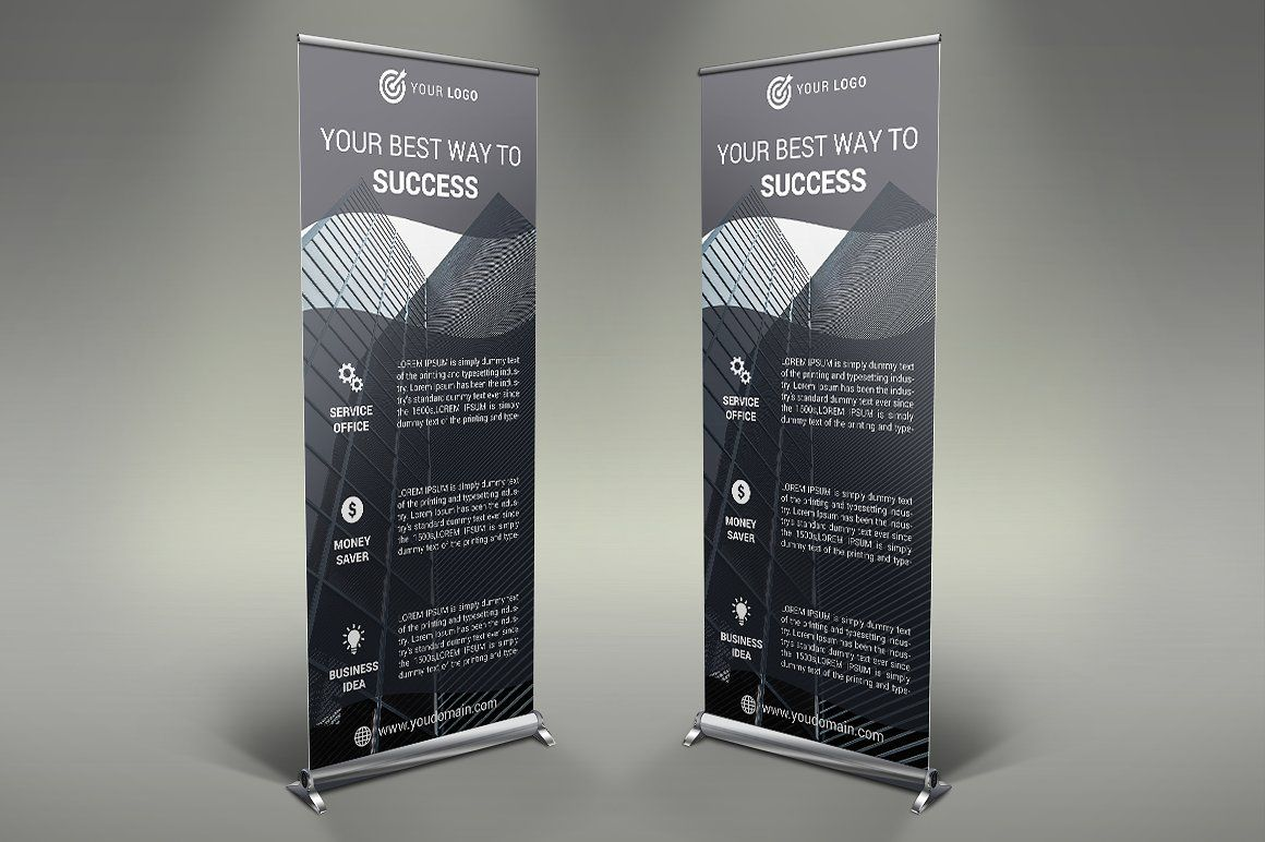 Business Roll Up Banner Infographic Powerpoint Roll Up Banner