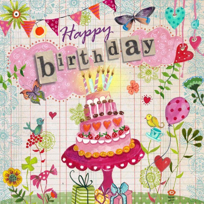 Vrolijke Verjaardagskaart Met Een Taart Andere Versie Zie Hieronder
