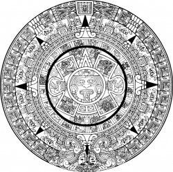 Aztec calendar coloring page  tatto  Pinterest  Aztec calendar