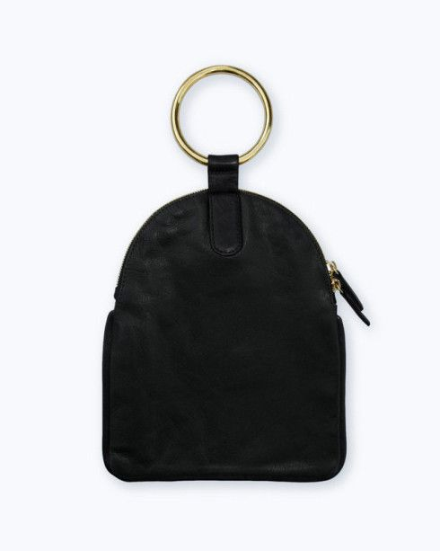 Large Ring Pouch in Black -- a buttery soft, leather zip pouch that's a minimalist dream from design collaboration, Otaat x Myers Collective www.fuggiamo.com #shopfuggiamo #minimal #wristlet #clutch #handbag #brass