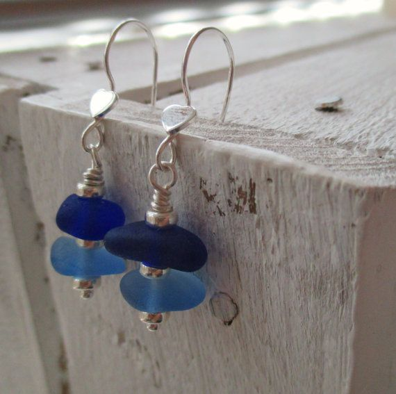 Blue Stacked Sea Glass Sterling Silver Earrings by SeahamWaves