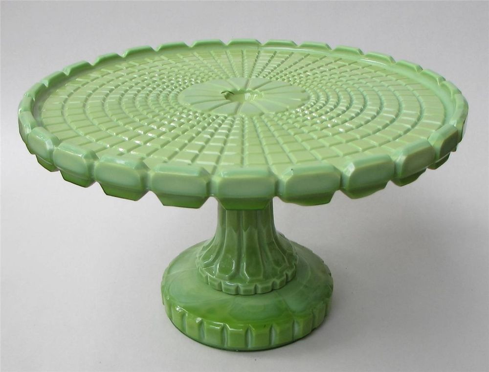 Eapg greentown nile green waffle pattern cake stand