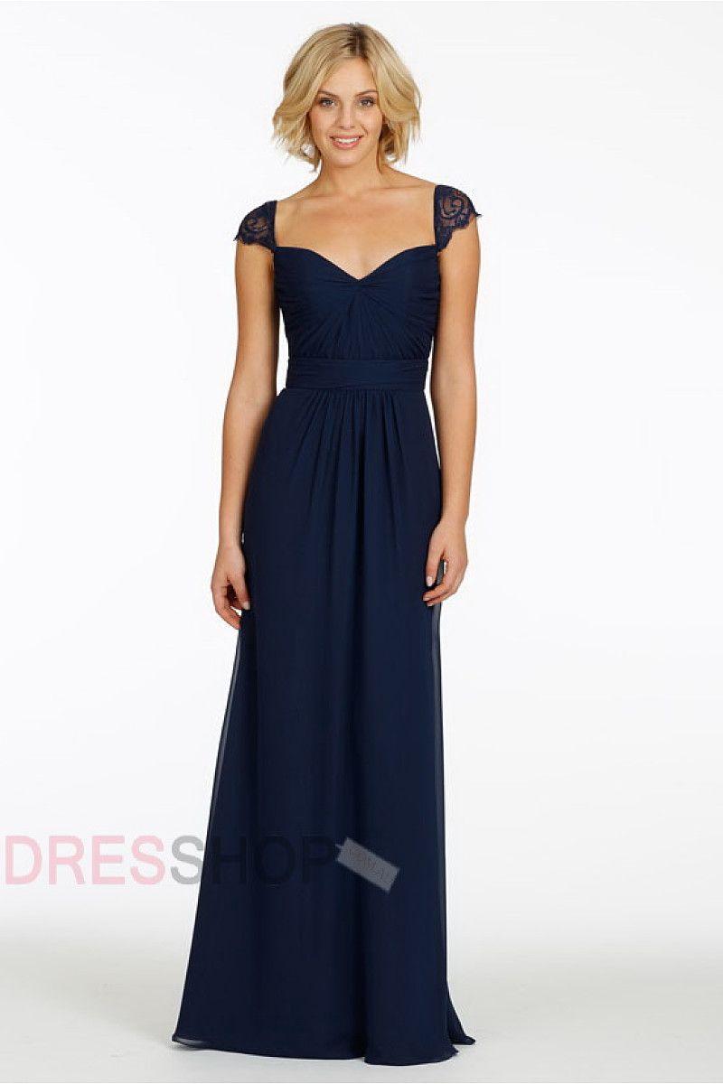Navy chiffon lace cap sleeves long bridesmaid dresses