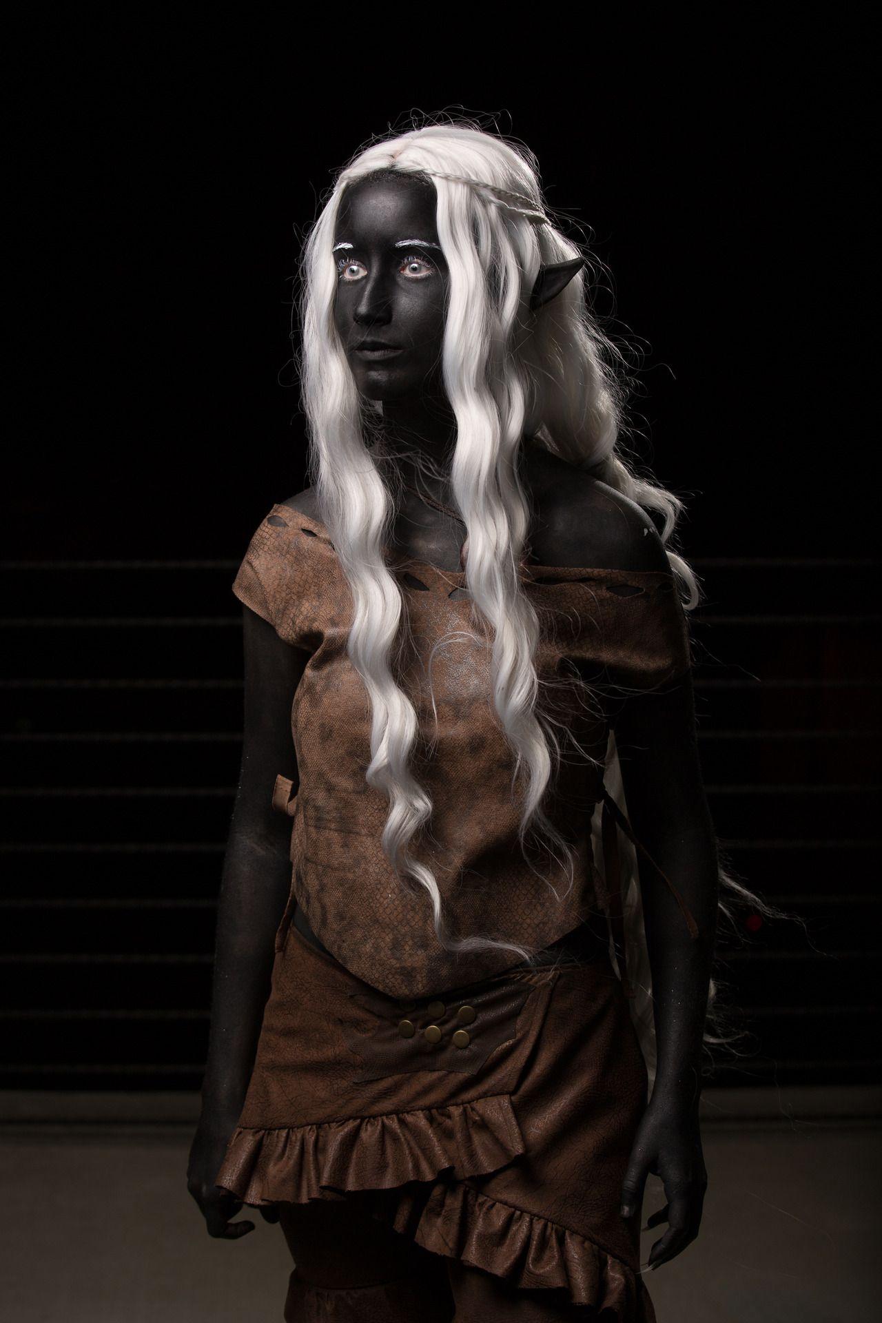 Dark Elf Purple To Black Skin Red White Or Black Eyes Pure White Hair Dark Elf Elf Cosplay Face Painting Halloween