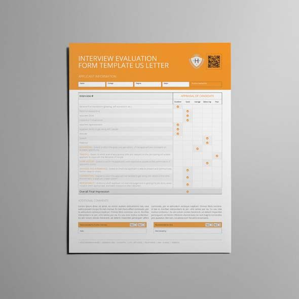 Interview Evaluation Form Template Us Letter  Cmyk  Print Ready