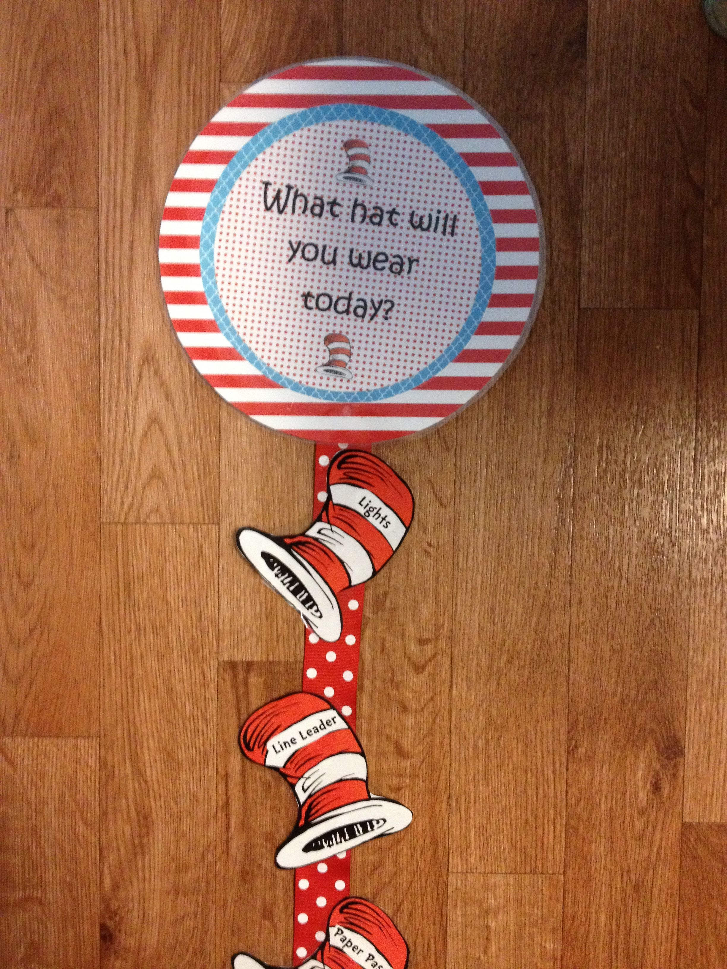 Dr Seuss Themed Job Chart Will Use Clothes Pins To Clip Child S Name To Hat