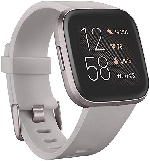 Amazon Com Fitbit Versa 2 Health Fitness Smartwatch With Heart Rate Music Alexa Built In Sleep Swim Tracking Stone Mist Grey In 2020 Smart Watch Fitbit L Band