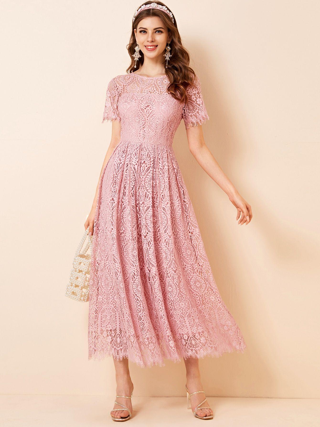 Tie Back Solid Lace Dress Shein Usa Dresses Womens Dresses Lace Dress [ 1785 x 1340 Pixel ]