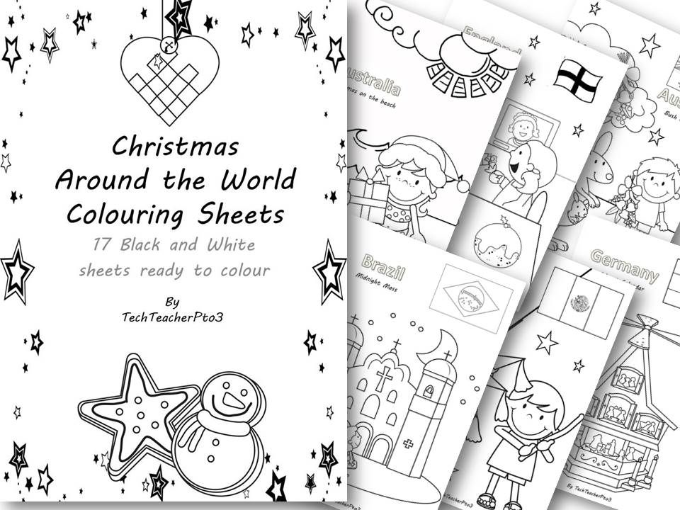 Christmas Around The World Colouring Sheets 17 Black And White Colouring Sheets With Images Of Chr Christmas Teaching Christmas Coloring Pages Easy Activities