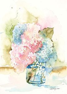 Ball Jar Hydrangeas Print by Sandra Strohschein