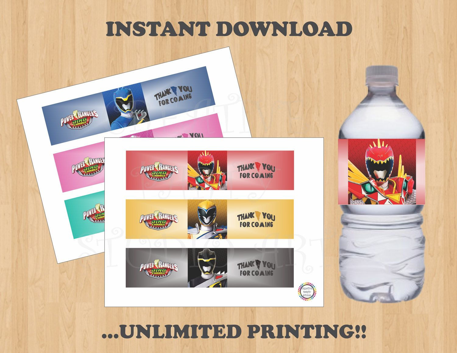 Printable Power Rangers Dino Charge Birthday Party Water Bottle Labels Label Stickers Favors Tags Wrappers Instant Download DIY By
