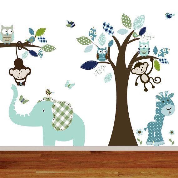 Giraffeelephantmonkey nursery wall decal sticker von for Sticker wand kinderzimmer