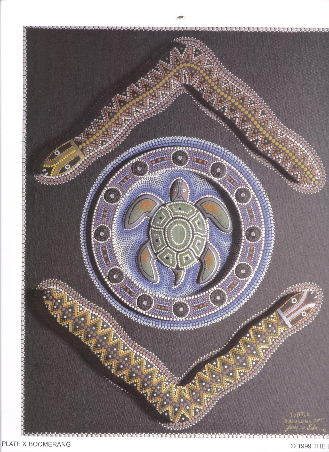 Turtle plate and Boomerang | Australian Aboriginal art