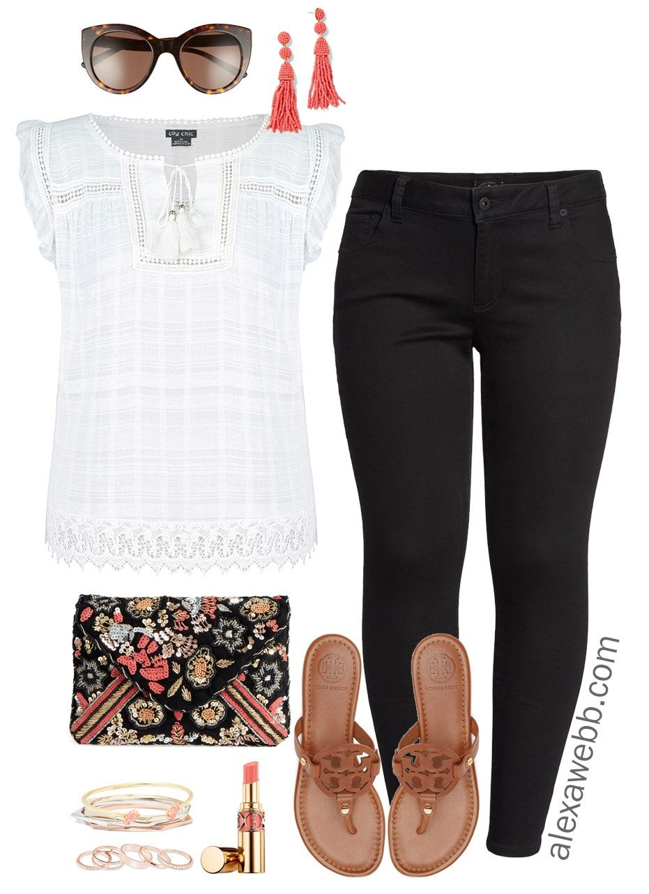 34731fec100 A simple and sweet plus size black jeans summer outfit. This adorable plus  size top is sure to become a hot weather staple. Add pops of color like  these ...