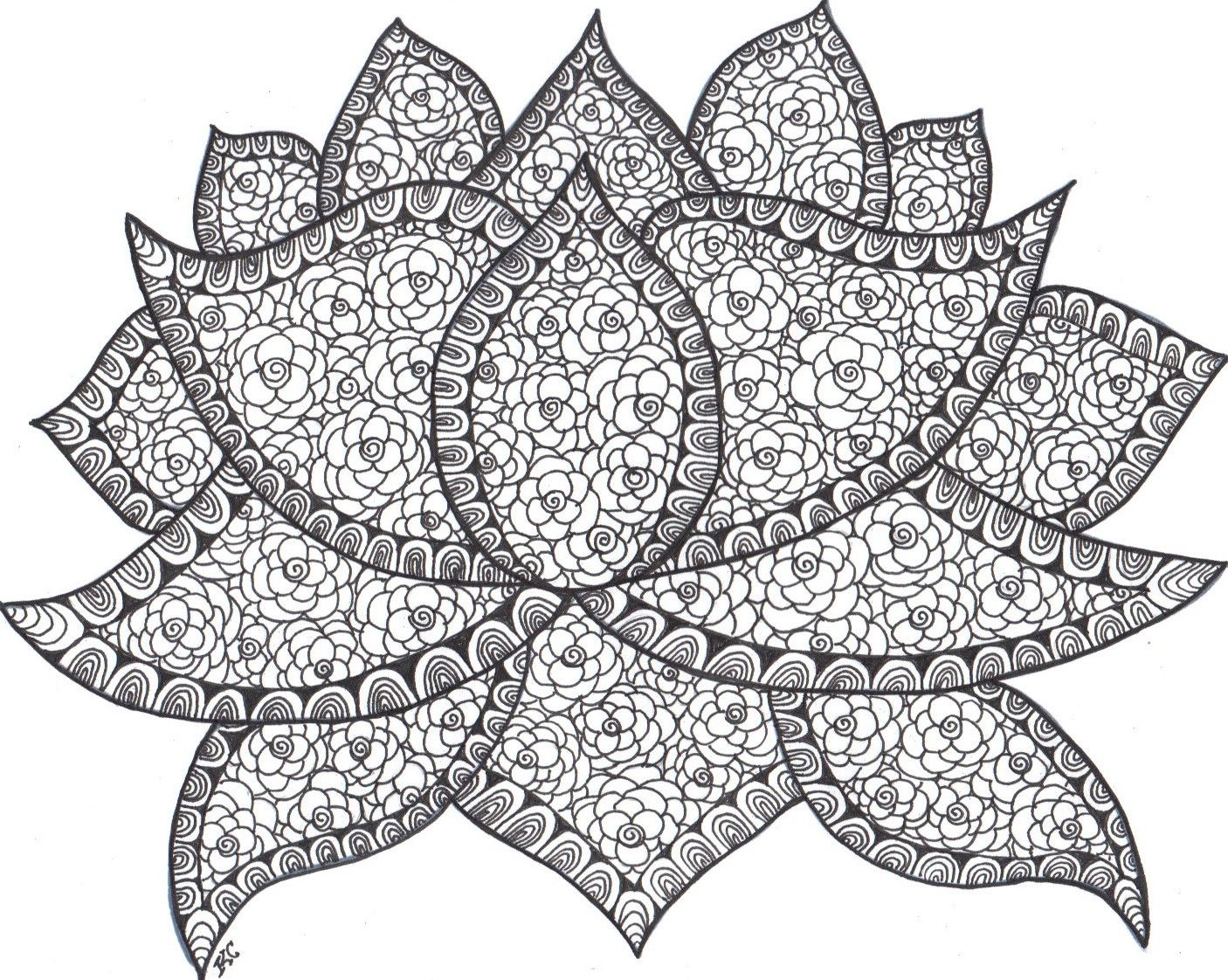 Lotus designs coloring book - Lotus Pattern I Just Learned Then Zentangled It Patterns From Http Tanglepatterns Colouring Pagescoloring Bookadult