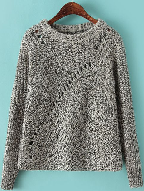 Grey Round Neck Long Sleeve Hollow Pullover Sweater 30.17
