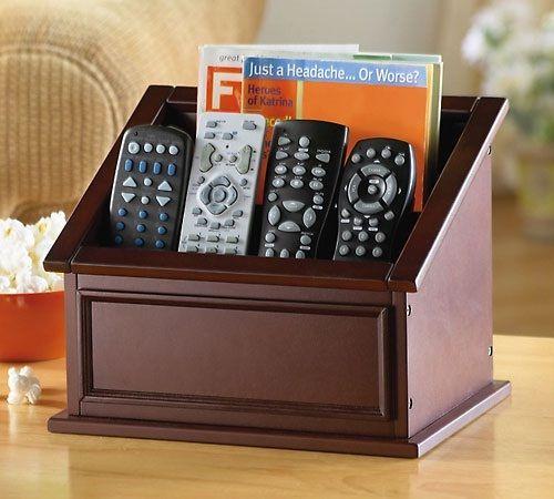 Wooden Remote Control Caddy Organizer Storage Organize