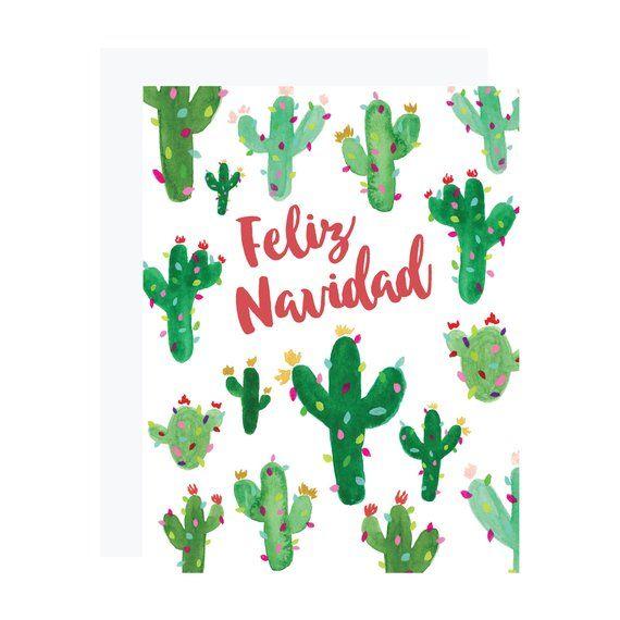 Feliz Navidad Christmas Card Saguaro Cactus Christmas Card Spanish