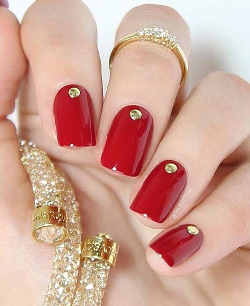 31 Snazzy New Year S Eve Nail Designs Page 2 Of 3 Stayglam Red Acrylic Nails Nails Design With Rhinestones Red Nails