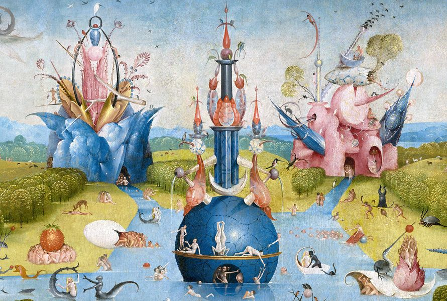 Kunstwerk Jeroen Bosch Tuin Der Lusten Detail 1490