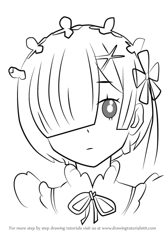 Learn How To Draw Ram From Re Zero Re Zero Step By Step