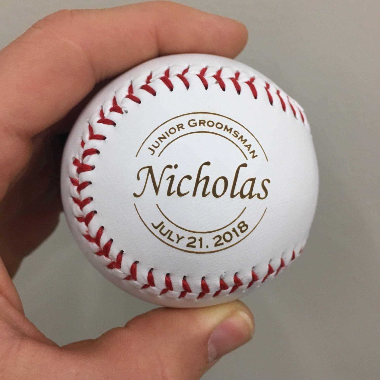 Junior Groomsman Gift Ideas For Boys Personalized Laser Engraved Baseball W Case Jr Groomsmen Wedding Party