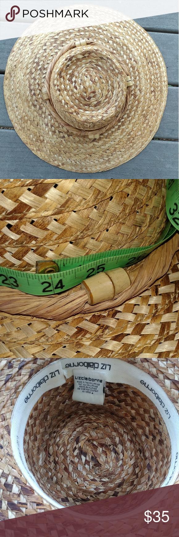 5eecfc10702c3 Liz Claiborne Straw Braided Wide Brim Hat Large Excellent condition sun  straw hat. Liz Claiborne Accessories Hats