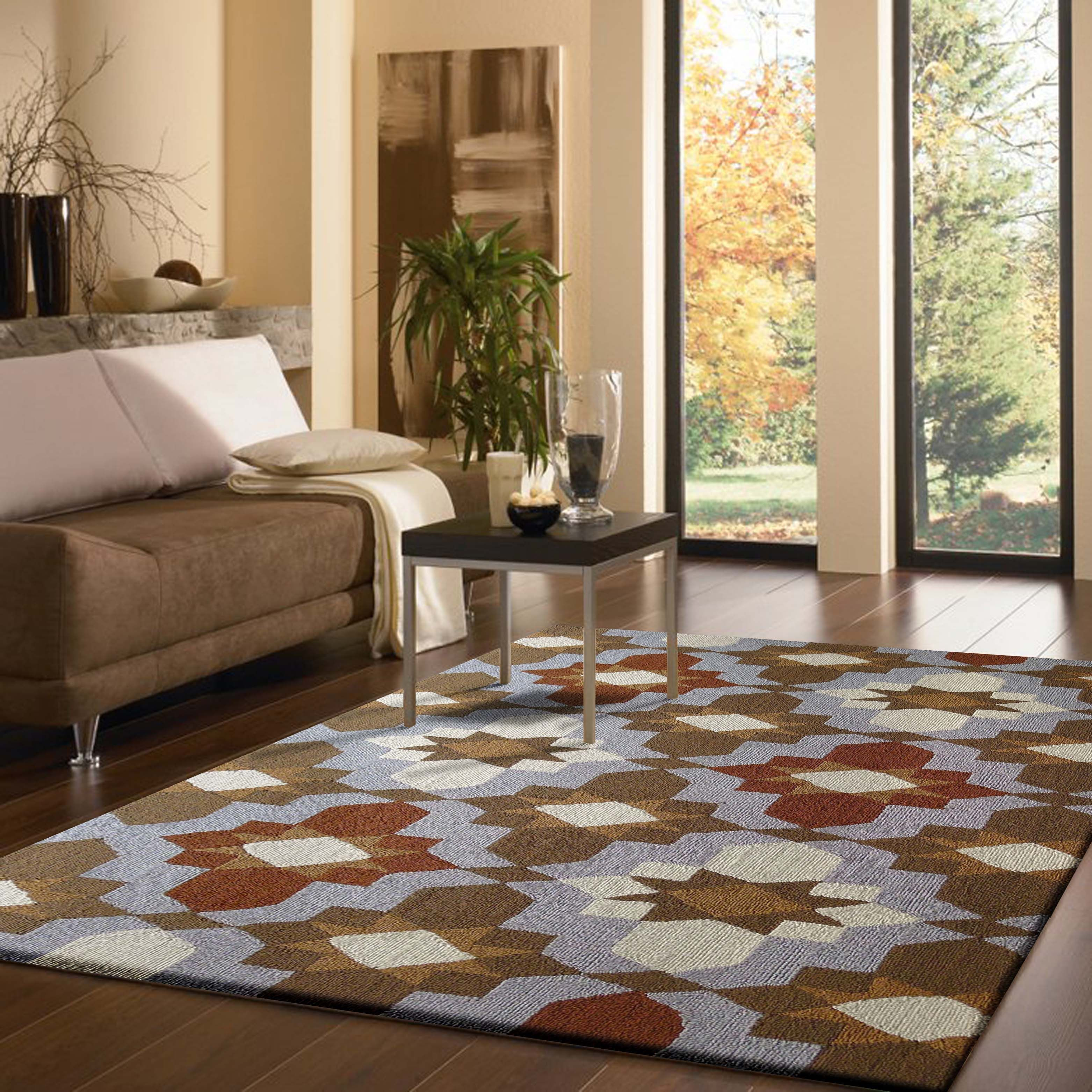 This multi color beige and grey indoor, area rug as you in the picture, its an nice fit with the right surroundings. http://rugaddiction.com/collections/vivid/products/outdoor-transitional-vibrant-multi-grey-area-rug
