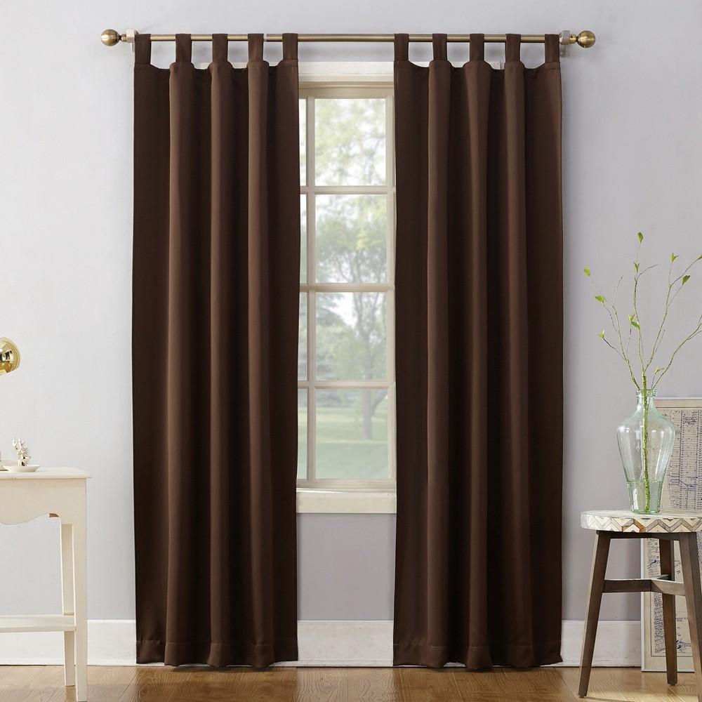 Sun Zero Kenneth Blackout Tab Top Curtain Panel Chocolate Brown