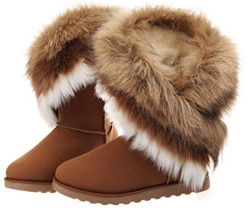 Womens Winter Suede (Leather) Snow Ankle Boots Faux Fur Flat Shoes