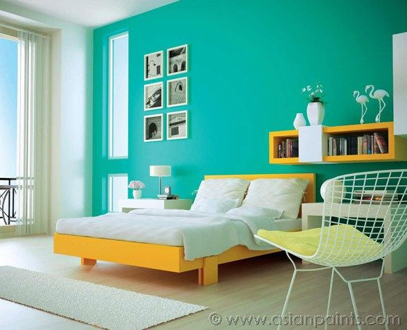 Asian Paint Interior Color Combination: Mustard And Teal Room Design