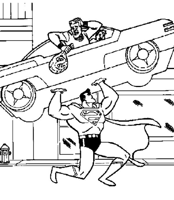 superman lifting a car coloring page superman pinterest