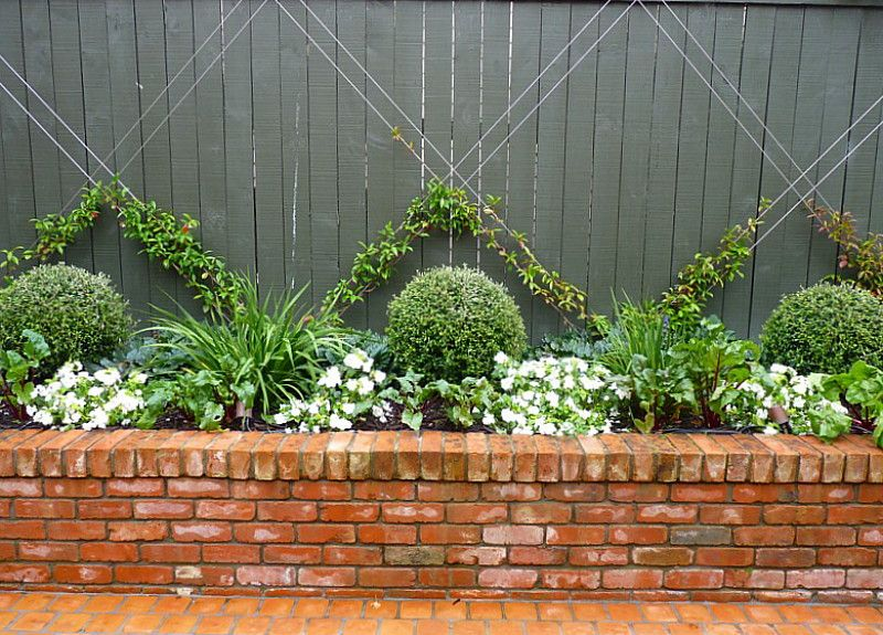Bed Design Topiary / Espalier / Raised Brick Planter | La Design