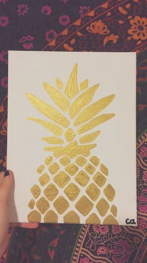 Gold Metallic Ananas Malerei, sofort lieferbar, 8 x 10 Acryl auf Leinwand, einfache Ananas, Kunst, Inneneinrichtungen, Wandkunst