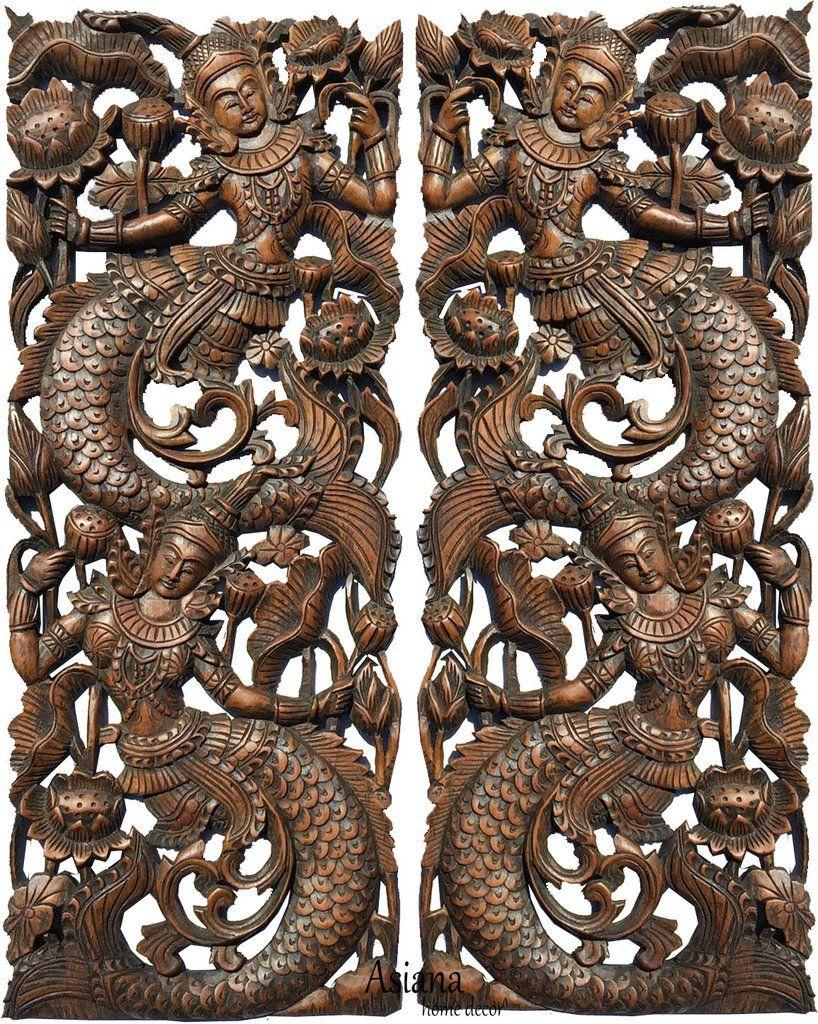 Thai figure mermaid asian home decor carved wood wall art panels