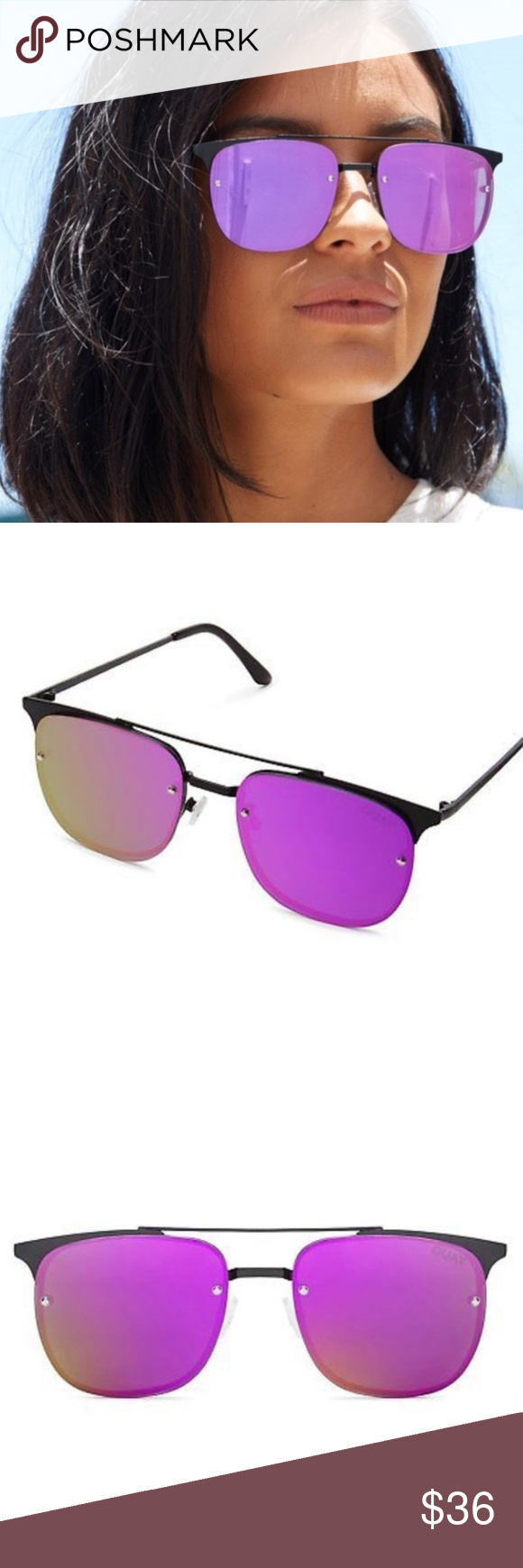 8bc2eddb408fd QUAY AUSTRALIA Private Eye Black Purple Navigator QUAY AUSTRALIA Private Eye  49mm Navigator Sunglasses.  60.00