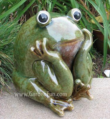 Ceramic Frog Statue   Garden Thinker   Click To Enlarge