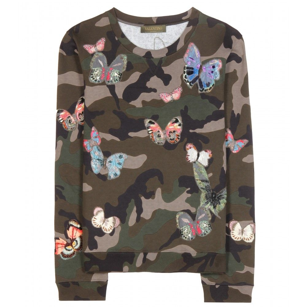 Valentino - Embroidered cotton sweater - Adorned with all-over butterfly embroidery detailing, Valentino's camouflage print sweater is as effortless as it is pretty. We're styling ours with second-skin leather trousers and statement boots. seen @ www.mytheresa.com