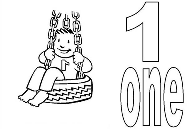 Kid Playing Swing And Number One Coloring Page Netart Coloring Pages Color Kids