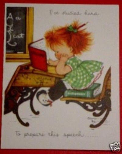 Vintage Charlot Byj Red Head Entitled SPELLBOUND Greeting Cards Birthday