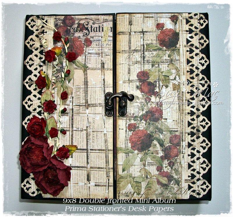 Gate Fold 9x8 Mini Album Using The Beautiful Prima Stationers Desk