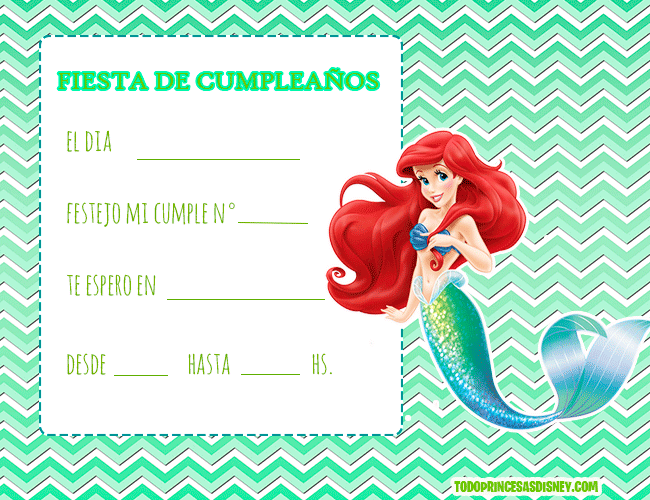 Invitaciones De Princesa Ariel La Sirenita Cumpleaños De