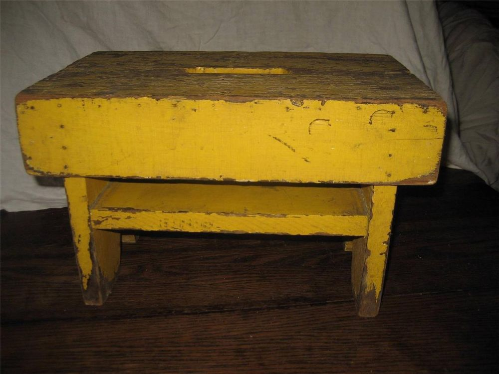 Antique Primitive Wood Stool Footstool Step Bench Old Vintage Farm 40 With Images Wood