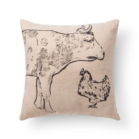 Pioneer Cow Burlap Throw Pillow 40x40 Beekman 40 FarmHouse Enchanting Beekman Home Decorative Pillow