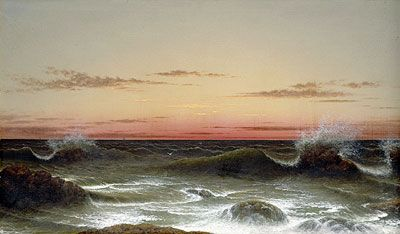Ocean at sunset in oils