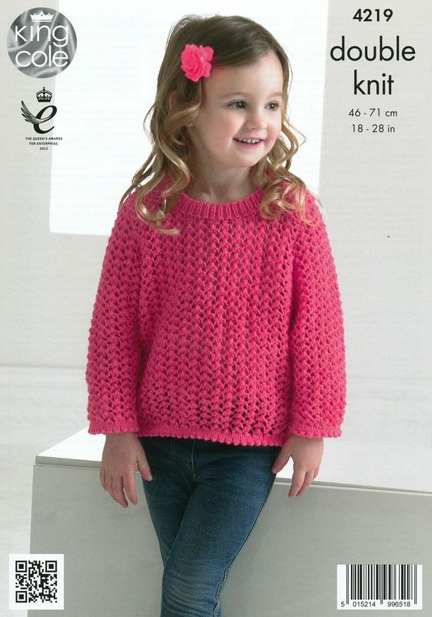 3358317cc Girls Lace Cardigan and Sweater in King Cole Big Value Baby DK (4219 ...