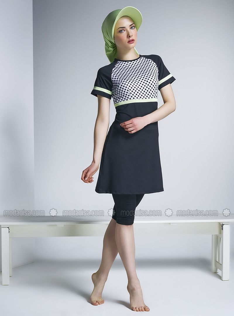 ffe6850ce671d Advertise Sleeve Gingham Design Mayo - Black - Half Covered Switsuits -  Modanisa